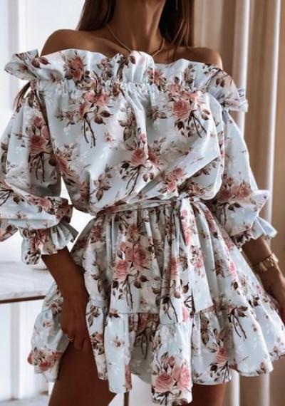 Sukienka GEORGIA hiszpanka wiązana w pasie kwiaty 2