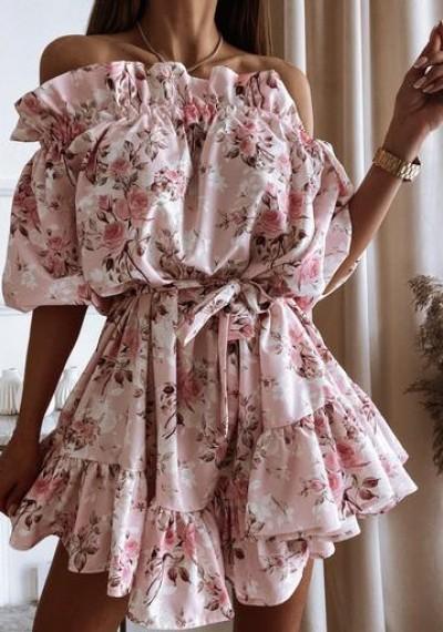 Sukienka GEORGIA hiszpanka wiązana w pasie kwiaty róż