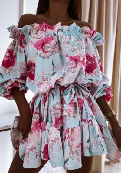 Sukienka GEORGIA hiszpanka wiązana w pasie kwiaty