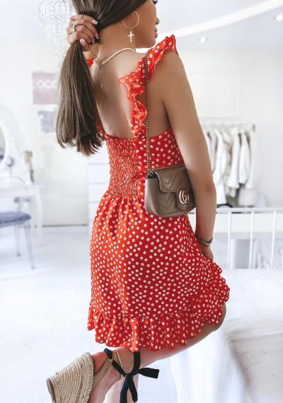 Sukienka MOLLY w kwiatki z falbankami CZERWONA 2