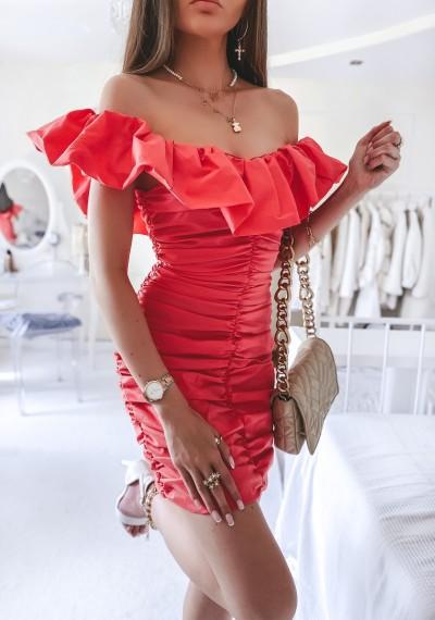 Sukienka ANABELL drapowana w stylu hiszpanki MALINOWA 1