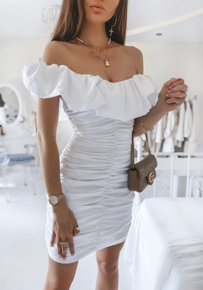 Sukienka ANABELL drapowana w stylu hiszpanki BIAŁA
