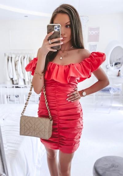 Sukienka ANABELL drapowana w stylu hiszpanki MALINOWA 4