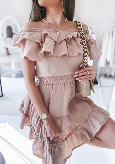 Sukienka DOLLY muślinowa z falbankami BEŻOWA 3