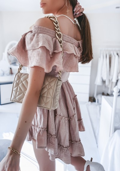 Sukienka DOLLY muślinowa z falbankami BEŻOWA 4