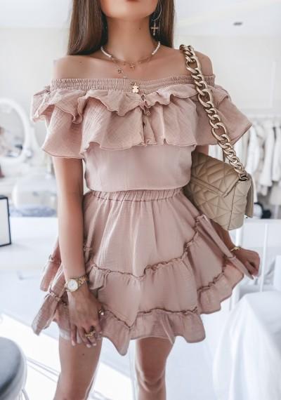Sukienka DOLLY muślinowa z falbankami BEŻOWA 2