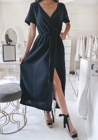 Sukienka SILVIA midi muślinowa CZARNA
