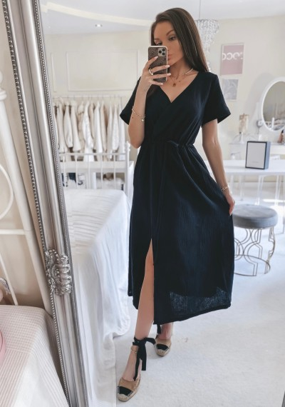 Sukienka SILVIA midi muślinowa CZARNA 1
