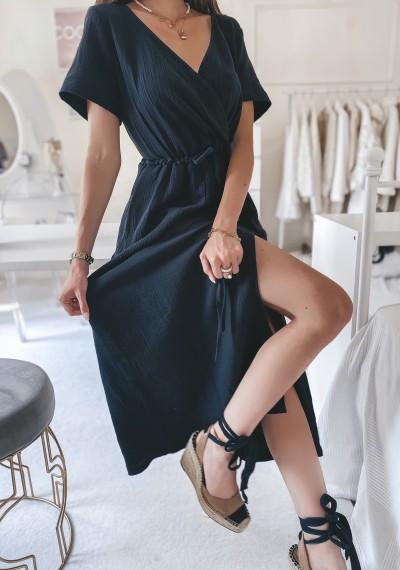 Sukienka SILVIA midi muślinowa CZARNA 2
