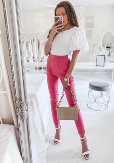Spodnie TROY woskowane MALINOWE 3