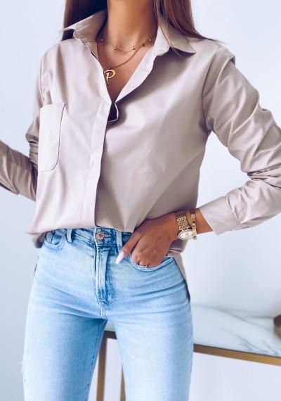 Koszula CLARKE klasyczna oversize BRĄZOWA