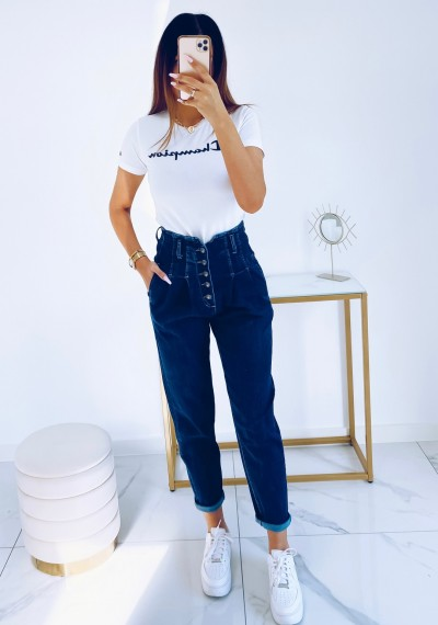 Spodnie JOY jeansowe z wysokim stanem na guziki NIEBIESKIE 1