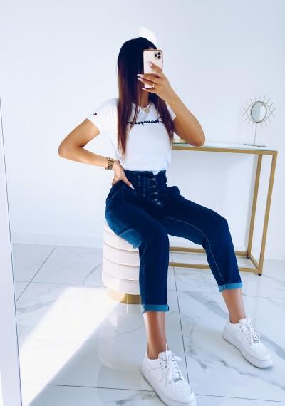 Spodnie JOY jeansowe z wysokim stanem na guziki NIEBIESKIE 2