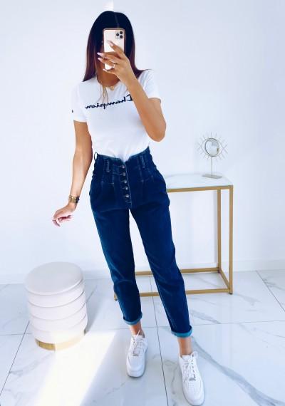 Spodnie JOY jeansowe z wysokim stanem na guziki NIEBIESKIE 4