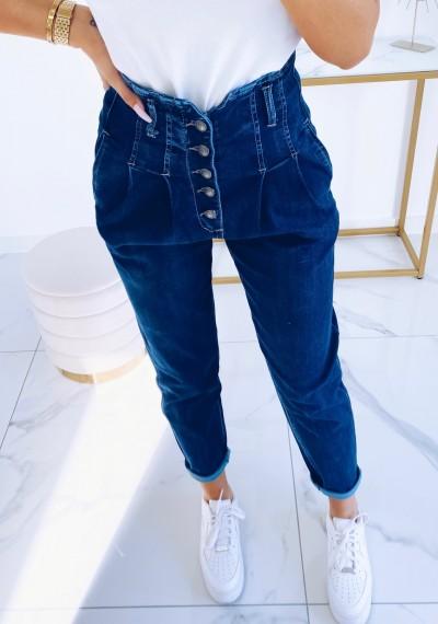 Spodnie JOY jeansowe z wysokim stanem na guziki NIEBIESKIE 5