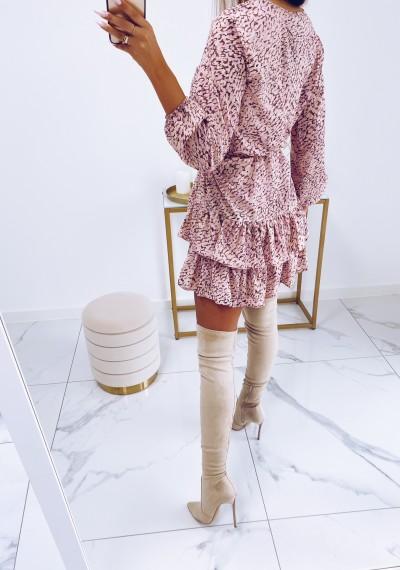 Sukienka ROBYN wiązana w pasie z falbankami 6