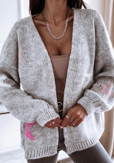 Sweter SHAWN w gwiazdki SZARY
