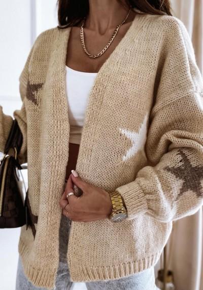 Sweter SHAWN w gwiazdki BEŻOWY