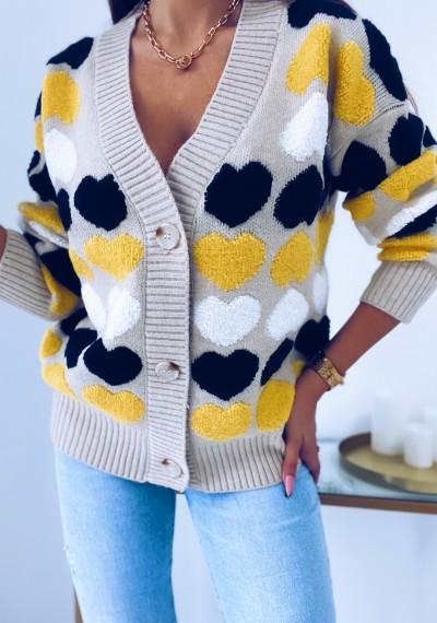 Sweter WILLY zapinany na guziki SERDUSZKA beżowy 5