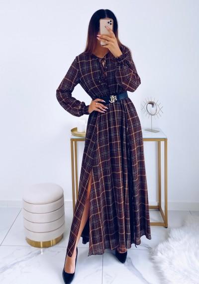 Sukienka SELENE maxi w brązową kratę