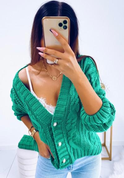 Sweter DARLA zapinany na guziki ZIELONY 3