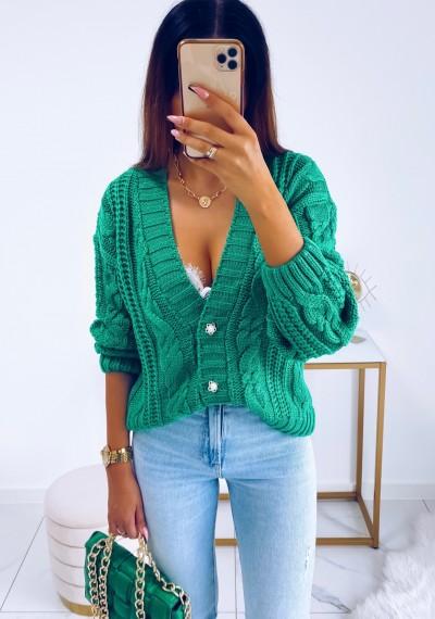 Sweter DARLA zapinany na guziki ZIELONY 6