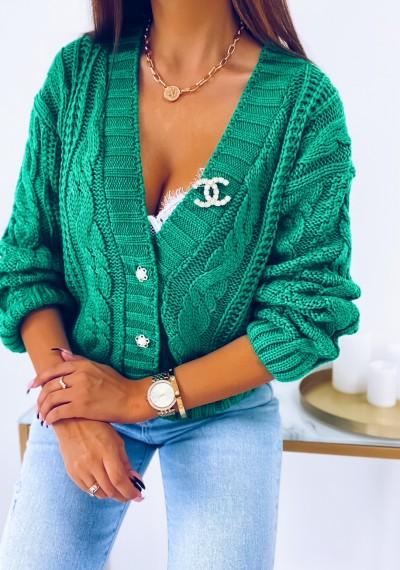 Sweter DARLA zapinany na guziki ZIELONY 7