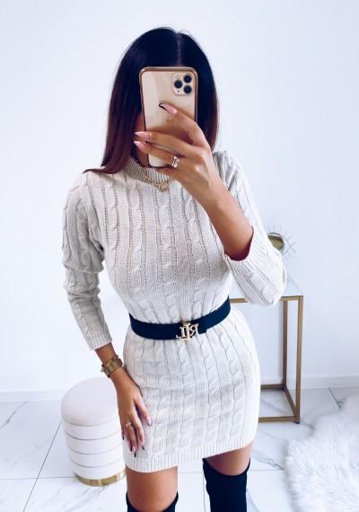 Sukienka HILLARY swetrowa ze splotem beżowa