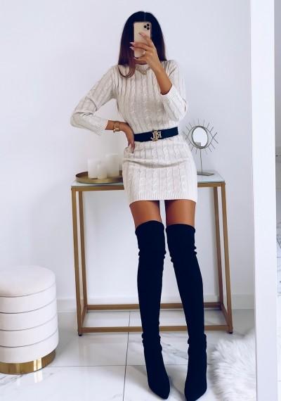 Sukienka HILLARY swetrowa ze splotem beżowa 1