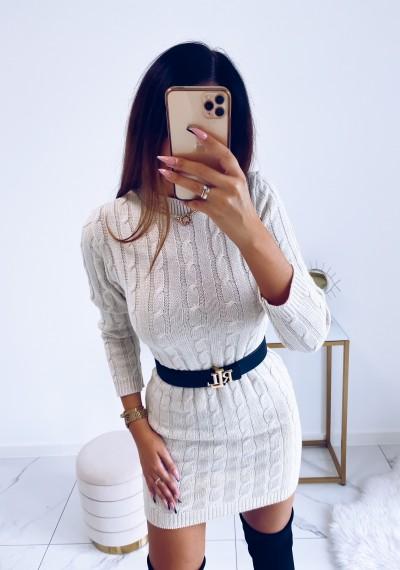 Sukienka HILLARY swetrowa ze splotem beżowa 2