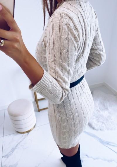 Sukienka HILLARY swetrowa ze splotem beżowa 3