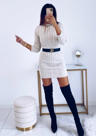 Sukienka HILLARY swetrowa ze splotem beżowa 4