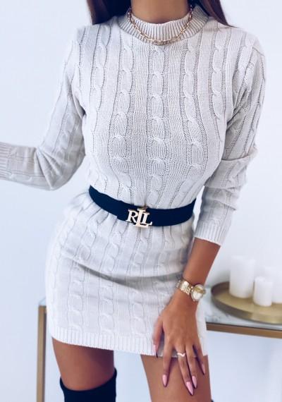 Sukienka HILLARY swetrowa ze splotem beżowa 5