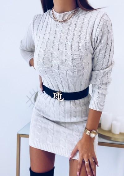 Sukienka HILLARY swetrowa ze splotem beżowa 6