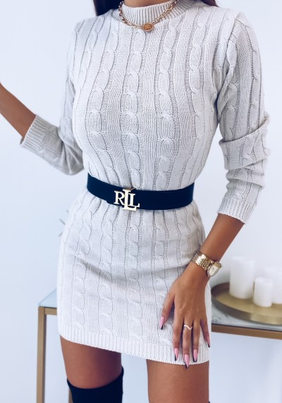 Sukienka HILLARY swetrowa ze splotem beżowa 7