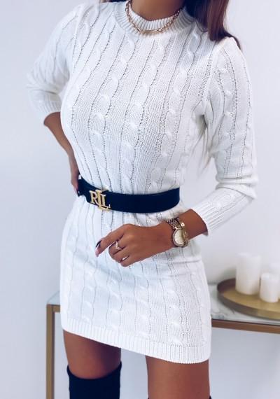 Sukienka HILLARY swetrowa ze splotem BIAŁA 2