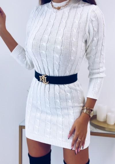 Sukienka HILLARY swetrowa ze splotem BIAŁA 3