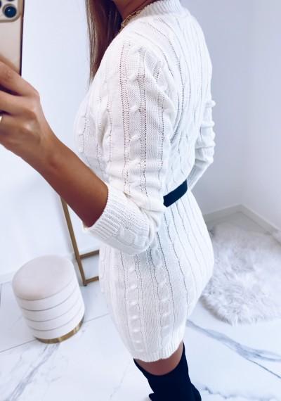 Sukienka HILLARY swetrowa ze splotem BIAŁA 4