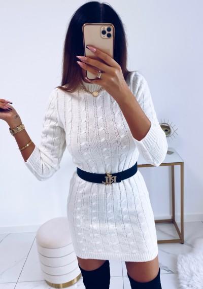 Sukienka HILLARY swetrowa ze splotem BIAŁA 5