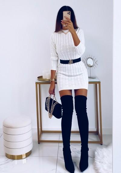 Sukienka HILLARY swetrowa ze splotem BIAŁA 9