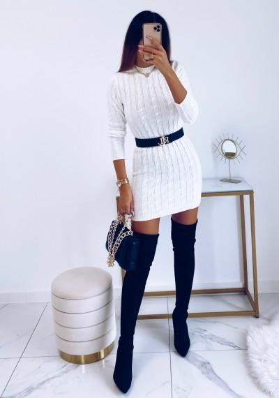 Sukienka HILLARY swetrowa ze splotem BIAŁA 10