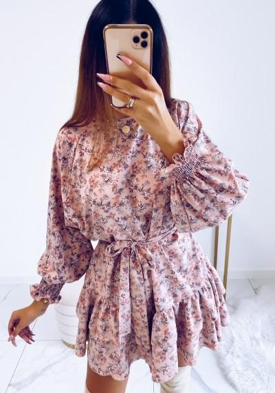 Sukienka MOLLY z wiązaniem w pasie KWIATY różowa