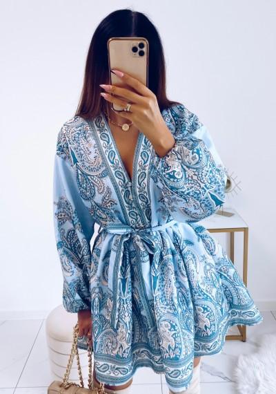 Sukienka SOPHIA rustykalny wzór wiązana w pasie NIEBIESKA