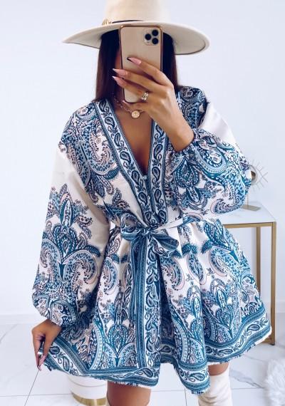 Sukienka SOPHIA rustykalny wzór wiązana w pasie MORSKA