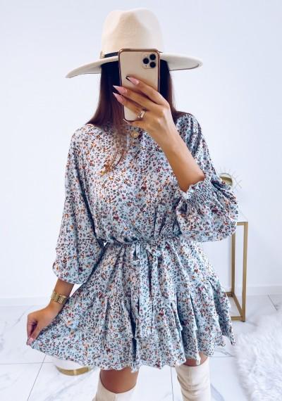 Sukienka MOLLY z wiązaniem w pasie KWIATY MORSKA