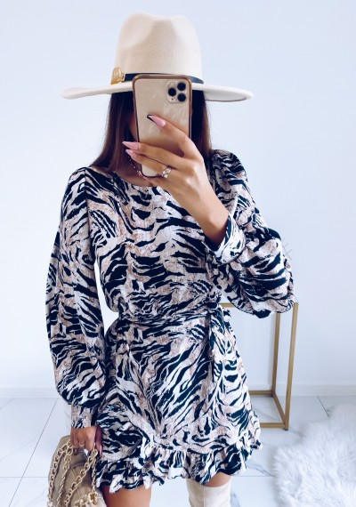 Sukienka CELINE w print zebry z wiązaniem 1