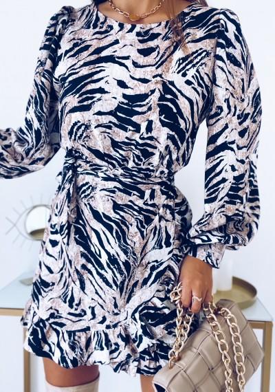 Sukienka CELINE w print zebry z wiązaniem 2
