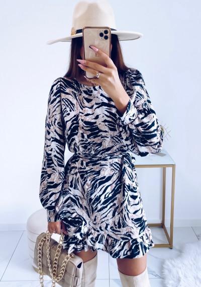 Sukienka CELINE w print zebry z wiązaniem 3