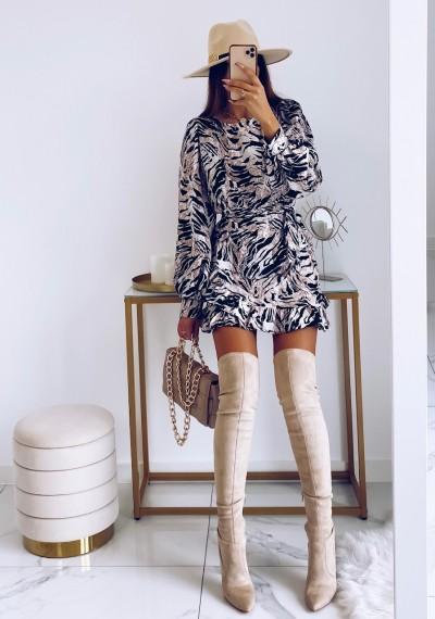 Sukienka CELINE w print zebry z wiązaniem 5