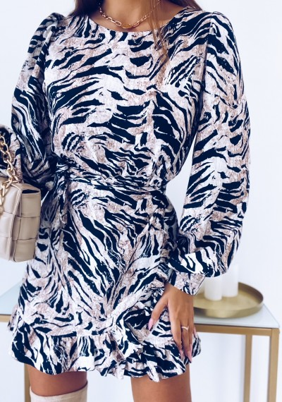 Sukienka CELINE w print zebry z wiązaniem 6